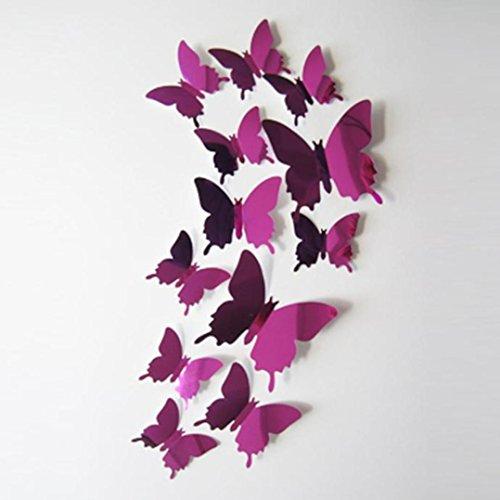 Lanspo Wandaufkleber Aufkleber Schmetterlinge 3D Spiegel Wand Kunst Home Decors Aufkleber für Kühlschrank, Schlafzimmer Wand, Küche Wand Dekore 12PCS (Pink) (Buchstaben Metall Y, Wand-dekor)