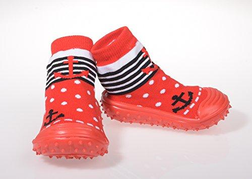 Baby pantofole calzini ABS suola in gomma scarpe ciabatte antiscivolo taglia 19–23(9–24mesi), versch.Colore 09