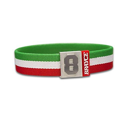 BRAYCE® Trikot am Handgelenk® mit Deiner Nummer 0-99 (Trikotnummer, Spielernummer, Glückszahl) in den Club-Farben grün/weiß/rot: Der Schmuck für Fans & Vereine (Italien-Flagge)