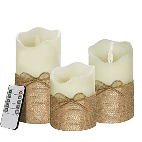 Altsommer LED Kerzen,Flammenlose kerzen Realistisch flackernde LED Flammen 10 Tasten Fernbedienung mit 24 Stunden Timer Funktion Wachs flackerndes Wicking Wick Electric LED Flamme Chip