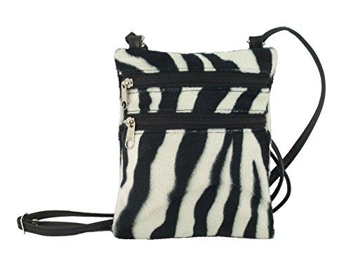 Tier Drucken Schulter Tasche (Funky kleine flache Umhängetasche/Cross-Body Tasche Tier Drucken Velour Tasche Zebra)