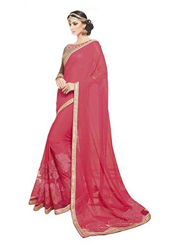 Palav Women's Chiffon Sarees Party Wear/Fancy Chiffon Sarees/Embroidered Chiffon Sarees - Punch Pink