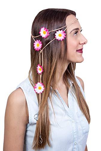 Faschingskönig 70er Jahre Hippie Kopfband Stirnband Hippiekostüm Accessoire Flower Power Outfit Zubehör Stirnband für Blumenmädchen