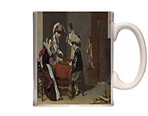 Mug Willem Duyster Two Men playing Tric trac, with a Woman scoring Ceramic Cup Gift Box