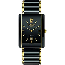 Roamer Men's Quartz Watch with Black Dial Analogue Display and Black Ceramic Strap 690856 48 54 60