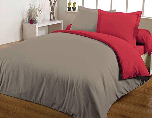 Maxi housse de couette bicolore 240X260 100% coton 57 fils Rouge/Taupe