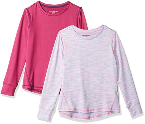 Amazon Essentials 2-Pack Long-Sleeve Active Tee T-Shirt, Fuchsia/Purple Spacedye, L (10)