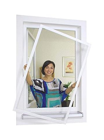 1PLUS Insektenschutz Alu Spannrahmen System premium für Fenster, in verschiedenen Größen und Farben verfügbar - ohne Bohren montierbar (80 x 120 cm, Weiß)