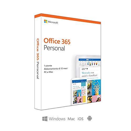 Microsoft Office 365 Personal | utilizzabile da 1 persona, Resta connesso su 5 dispositivi| 1 abbonamento annuale | si installa su PC/Mac/iOS/Android  | scatola
