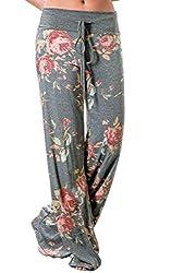 Angashion Damen Blumenmuster Weite Bein Lange Hose, Grau, EU 3XL(44)