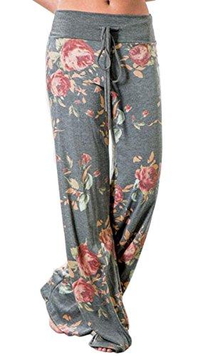 Angashion Damen Blumenmuster Weite Bein Lange Hose, Grau, EU 3XL(44) (Cargo Kleid)