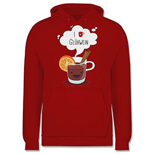 Weihnachten & Silvester - I love Glühwein glückliche Tasse - Männer Premium Kapuzenpullover / Hoodie Rot