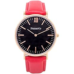 Prempco - Nobel - Ladies Watch - Black/Rose Gold - Quick Change Watch Wrist Band in Red