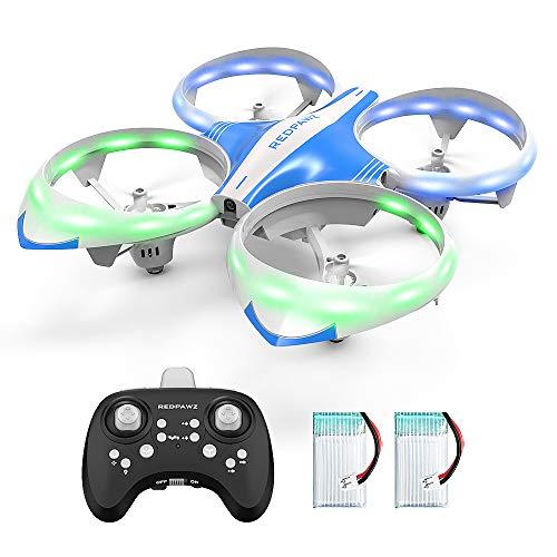Redpawz R13 LED RTF Drone Para Niños,RC Quadcopter con Toss/Shake Take Off Control Gestos,Evitación de obstáculos,Modo sin Cabeza,3Modos de Velocidad Estabilización de Altitud Principiantes-2 Baterías