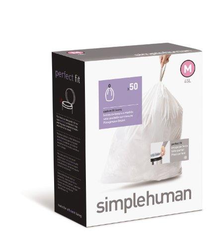 simplehuman - Code M, Custom Fit Bin Liners, 50 Pack - 45 Litre