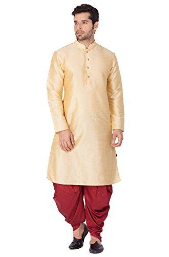 Vastramay Men Gold Cotton Silk Kurta and Cowl Dhoti Pant Set