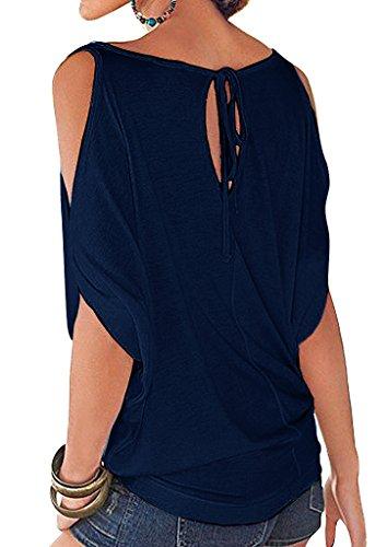 Mangotree Oberteile Kurzarm Batwing T-Shirt Tops Damen Schulterfreies Bluse Tunika Tanktop Dunkelblau