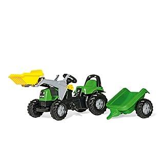 Rolly Toys Deutz Fahr Trettraktor mit Lader und Anhänger (rollyKid Traktor; Motorhaube öffenbar; Frontlader, Schaufellader; Kinder ab 2,5 Jahre) 023196