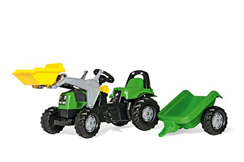 Deutz Trettraktor Rolly Toys 023196 rollyKid Deutz-Fahr | Trettraktor mit Frontlader und Anhänger | Traktor mit Motorhaube zum Öffnen und Überrollbügel | ab 2,5 Jahren | Farbe grün