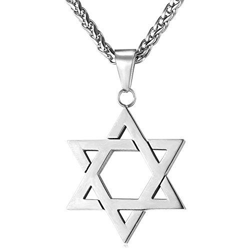 U7 Hexagramm Anhänger Halskette Edelstahl Davidstern mit 3mm/60cm Weizenkette Judischen Magen David Symbol des Judentums Modeschmuck Geschenkidee für Männer Jungen