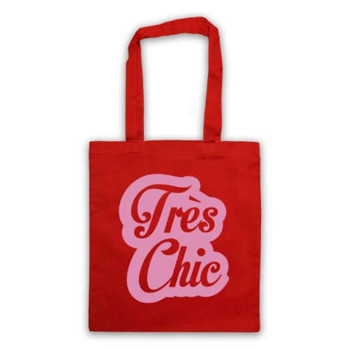 Tres Chic francese Slogan Tote Bag Rosso