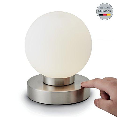 Lámpara de mesa I Lámpara de mesa de noche con forma esférica y elegante I Regulable I Blanca I Pantalla cromada I 230 V I IP20 I E14 I máx. 25 W I Ø 157 mm