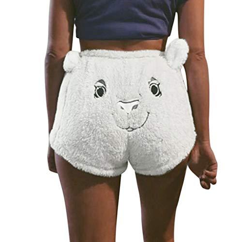 SIOPEW Hosen Frauen Flanell Stickerei Bär Drucken Drawstring Shorts Hosen Leggings Overalls Röcke Shorts Strumpfhosen Sweatpants