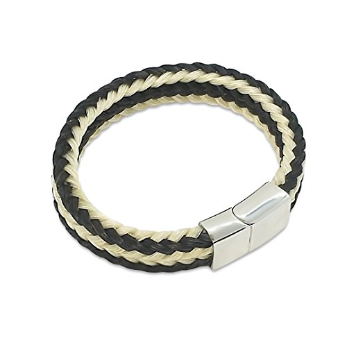 Crin de Cheval - Bracelet Pour Homme et Femme Fait Main - 20/21 cm - Collection Rodeo - Tressé Carre - Noir et Blanc