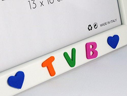 Cornici per foto in legno con la scritta Papà TVB e decorata con cuoricini, da appoggiare o appendere, misura 13×18 cm Bianca. Ideale per regalo e ricordo. - 5