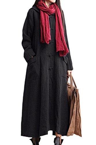 Le Donne Monocolor Oversize Felpa Taglia Cappotto Lungo Una Linea Con Cappuccio Black