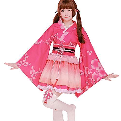 LJLis Yukata Kimono japonés Traje Pavo Flores Satén