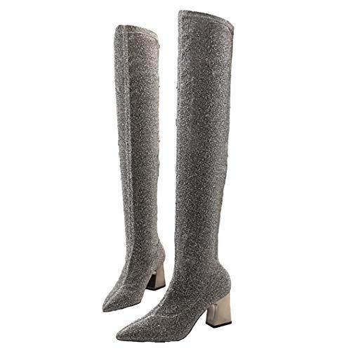 (KYLYN Glitter Oberschenkel Hohe Socken Stiefel Damen Designer Metall Starke Ferse Pailletten Stoff Overknee Stiefel Schwarz/Silber)