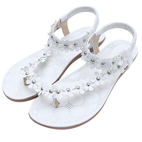 Mujeres Chanclas De Madera, ❤️ Ba Zha Hei Verano Plataforma Zapatos de Moda Caucho Sandalias de Zapatillas Sandalias de Cuentas de Bohemia Bordado Flores Sandal Mujer (39, Blanco)