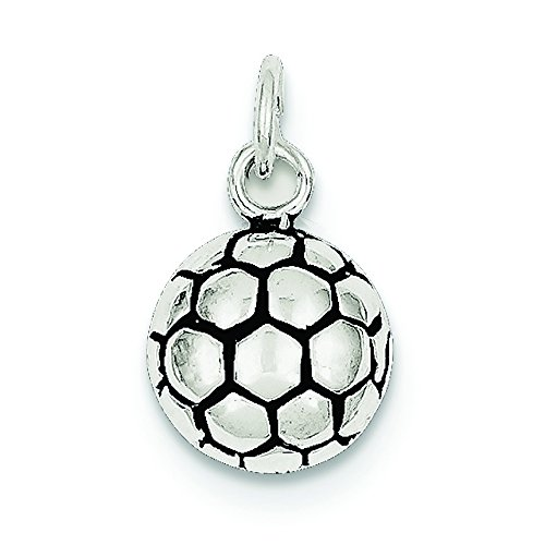 Plata esterlina del encanto del balón de fútbol antiguo - JewelryWeb