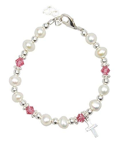 Cristallo sogno battesimo bianco perle d' acqua dolce coltivate e cristalli Swarovski rosa con croce in argento lusso Keepsake Baby Girl braccialetto (Bfwcp), Argento, colore: Silver, cod.