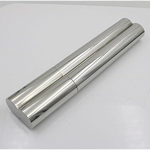 JUNQL& Caja de cigarrillo de doble tubo de acero inoxidable espejo-pulido la personalidad creativa