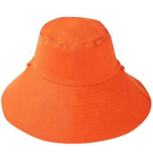 Dorical Sonnenhut für Herren Unisex Faltbarer Sommerhut, Fischerhut für Damen schlaffer Strand Sonnenhut Breite Krempe,Doppelseitig Einfarbig Ausverkauf(Orange)