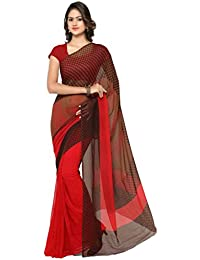 Vaamsi Women's Faux Georgette Saree With Blouse Piece(Jstraga1030_Red_Free Size)