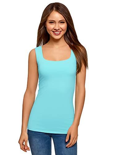 oodji Collection Mujer Camiseta del Tejido Elástico con Tirantes Anchos, Azul,...