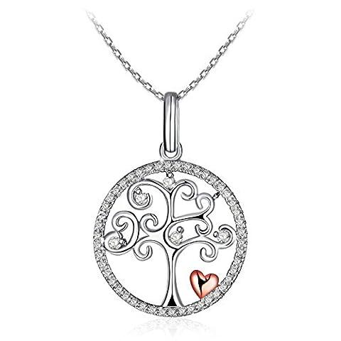 """Collier femme J.Rosée Argent 925 """" L'arbre d'amour """", Collier Femme/Fille, L'arbre de Vie, Chaîne Elégante 45-50cm, Cadeau Collier, avec Paquet Cadeau Exquis"""