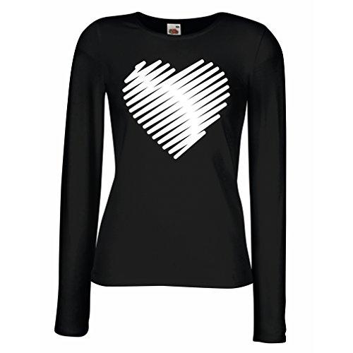 Weibliche Langen Ärmeln T-Shirt Stilvolle Herzen, ich Liebe Dich Geschenke Valentinstag Outfits (X-Large Schwarz Weiß)
