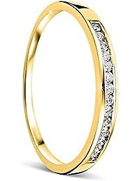 Orovi anillo de mujer compromiso/aniversario 0.10 Quilates diamantes en oro amarillo 18 kilates ley