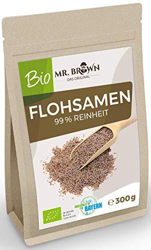 Mr. Brown BIO Flohsamen 300 g   Samen   aus Indien   99% Reinheit   aus kontrolliert biologischem Anbau   300 GR   abgefüllt in Bayern