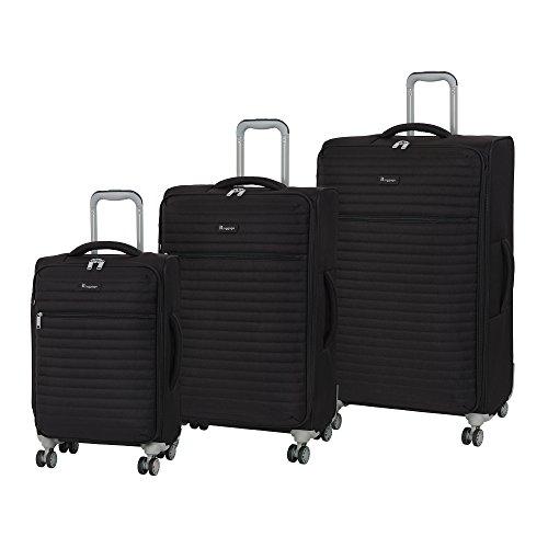 it Gepäck 3-teiliges Set Quilte 8 Rollen leichte Semi Expander Koffer Koffer 80 cm, Schwarz (Schwarz) - 12-2148A08GLO3N-S001