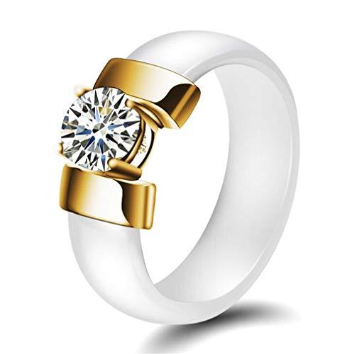 PAURO Damen Schmuck Hoch Poliert Mit Zirkon Engagement Hochzeit Band Ringe Keramik Weiß Gold Größe 62 (19.7) - Ring Hochzeit Gold-weiss