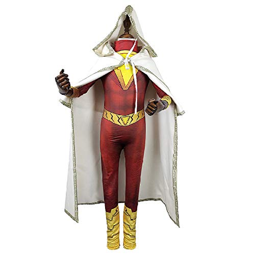 Shazam Kostüm Superheld - Superhelden Shazam Kostüm Kind Erwachsener Cosplay Onesies Halloween Mottoparty 3D Druck Spandex Strumpfhosen,Adult-XXL