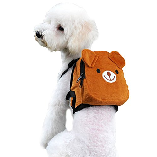 ueetek Hund Rucksack Satteltasche verstellbares Hundegeschirr Pet Tasche für Outdoor-Reise Wandern Camping Training (braun)