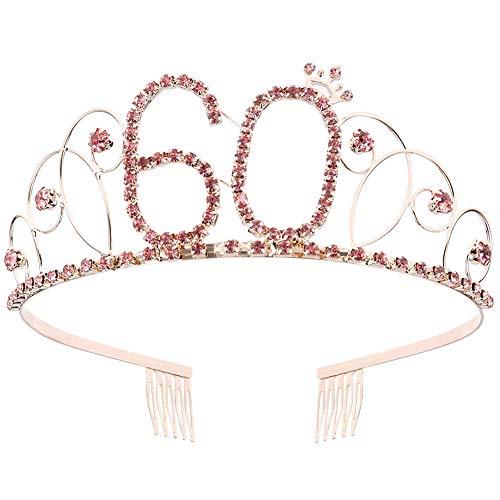 Geburtstag Krone Prinzessin Kronen Haarschmuck Strass Geburtstagsgeschenk für Mädchen und Frauen (60 birth) ()