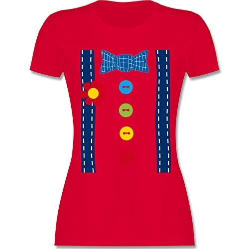 Karneval & Fasching - Clown Kostüm blau - XXL - Rot - L191 - Damen T-Shirt ()