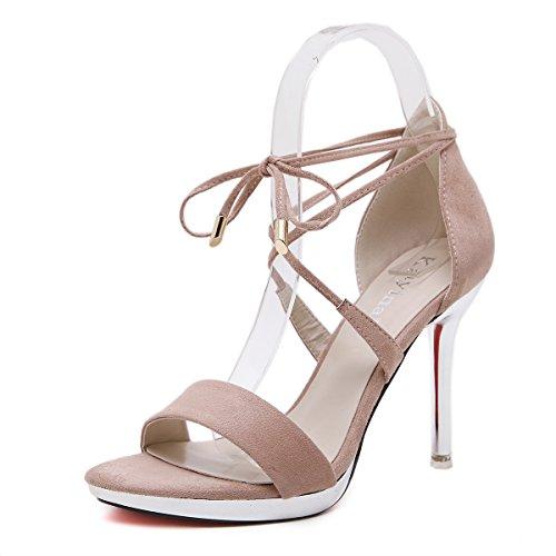GS~LY Regali Estate sandali femmina con il piede cinghia ad anello con tacchi alti Black
